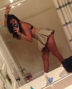 Khaki skirt in the shower