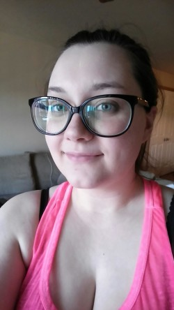 My wife with her new spectacles.