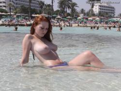 Wet topless ginger