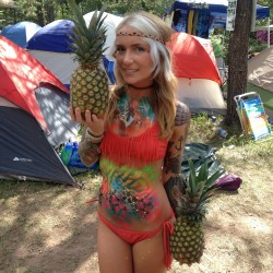 body paint in bikini