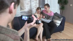 double penetration session for inexperienced teeny