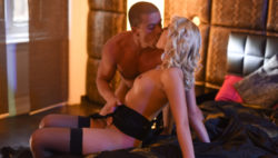 Handsome golden-haired in nylons Katy Rose deep-throats and copulates large manhood.