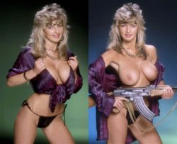 80's chick takes her guns out