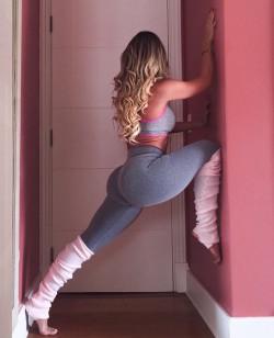 Blonde in doorway.