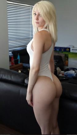 Blonde in white leotard.