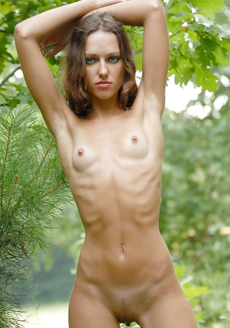Bony chick shows off her tiny chest