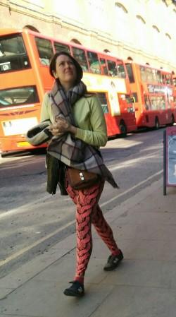 Colourful English girl yoga pants