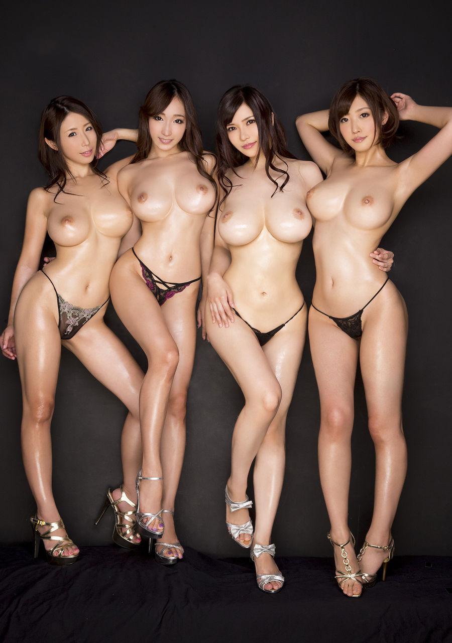Four oiled Asians