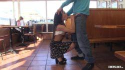Cute Latina in a Restaurant