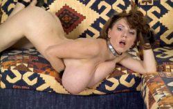 Merilyn Sakova on the sofa
