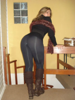 Milf in yoga pants and boots