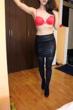 Red bra and black heels !