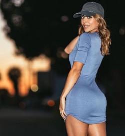 Sexy tight blue dress.