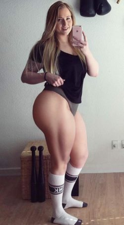 She works out.