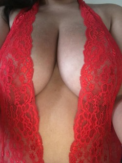 Sunburnt boobies in a red number