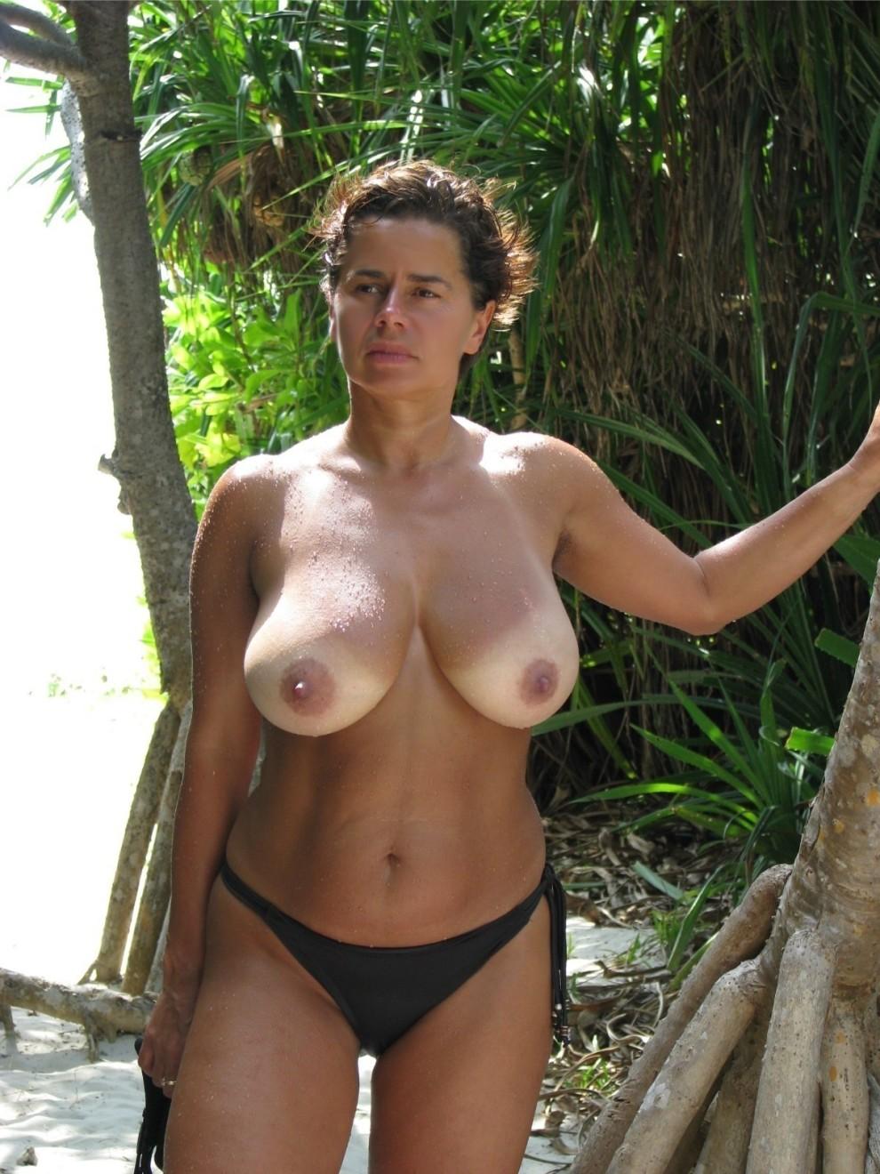 Topless tan lines