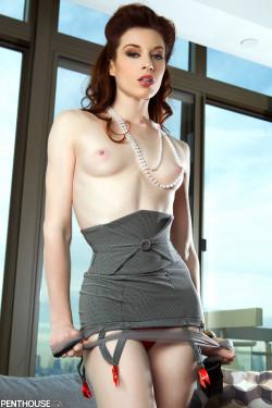 brunette garter heels pale