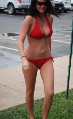 filled out red bikini