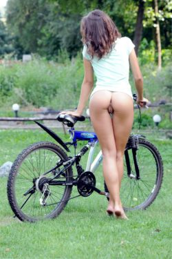 showing off her bike