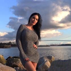 veronika black in a knit dress