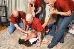 4 bald men take her on the floor