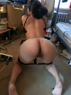 Asian slut waiting to get fucked in a messy dorm room