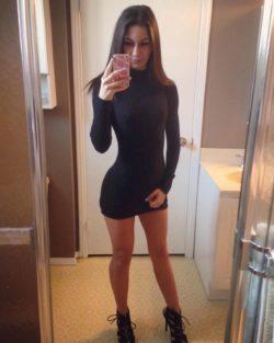 Black knit bathroom selfie