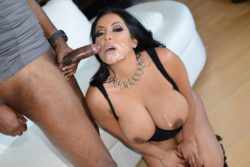 Classy black haired cumslut with big jugs