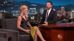 "Julie Bowen showing off her legs on ""Jimmy Kimmel Live!"""