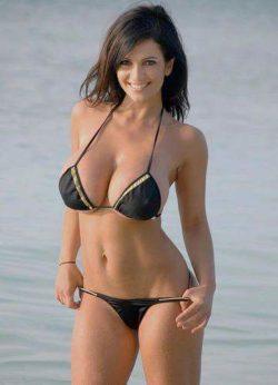 Hot brunette in black bikini