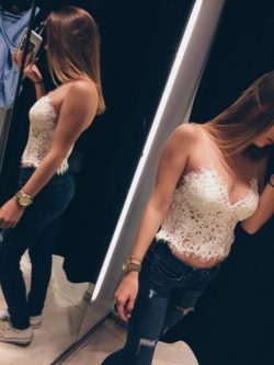 Lace top change room mirror