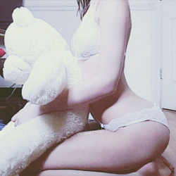 Me and my teddy. Only friend paler than me. [self]
