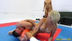 Adrian Maya and Cristi Ann pin-down and blow some dude