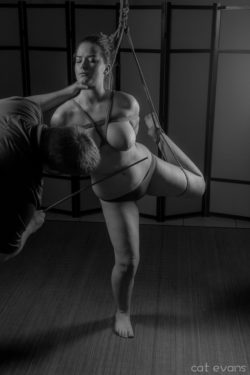 Partial Suspension while being caned [f] - [OC] Rope by me - pic/edit by cat