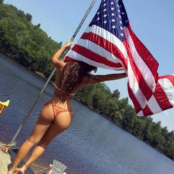 Rachel Bush w/ a flag