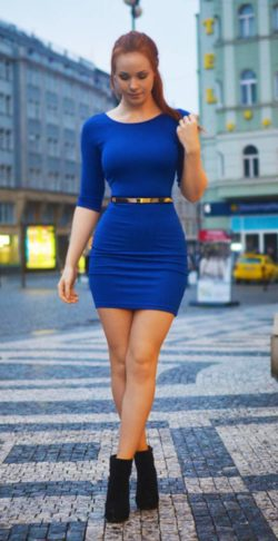 Red head in the blue dress
