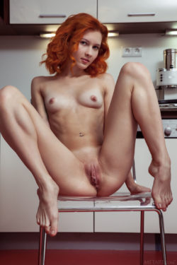 Redhead spread in kitchen