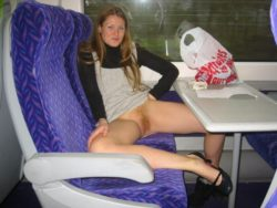 Showing Her Hairy Muff On The Train [IMG]