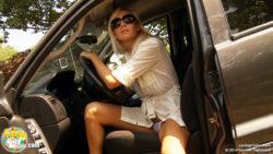 Upskirt exiting a car