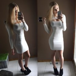White sheath dress in natural light