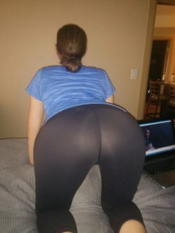 Wife in yoga pants showing off
