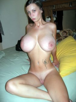 Young MILF with HUGE natural tits and shaved pussy