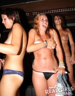 Happy and Embarrassed in a Handbra while her friends think it's no biggie