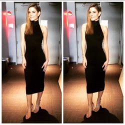 Maria Menounos - Black midi dress