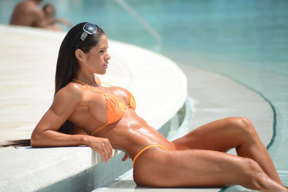 Michelle Lewin sunning her perfectly toned body