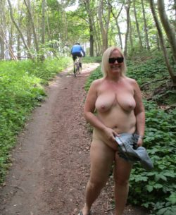 Nude girl in the woods