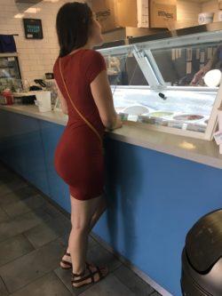 Tight dress in an ice cream shop