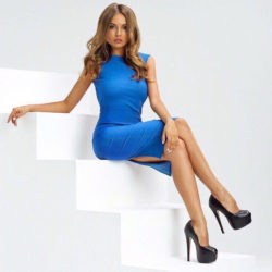 White room blue dress