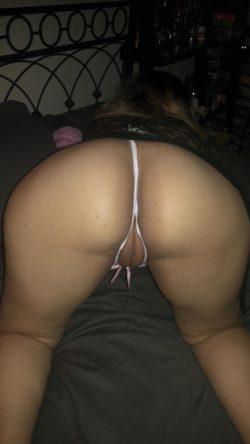 Wife in white lingerie