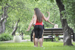 Yoga pants in the park